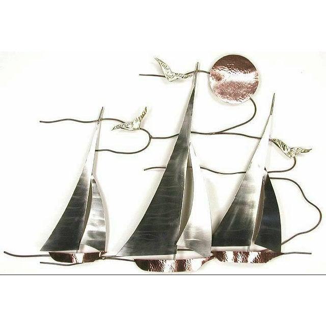 Bovano of Cheshire Handmade Sailboat Regatta Metal Wall Art | Chairish