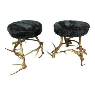 Pair of Antler Stools with Beaver Fur Seats