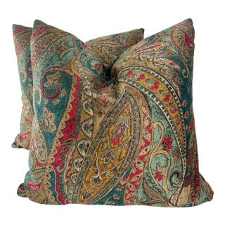 """Paisley Chenille 22"""" Pillows-A Pair For Sale"""