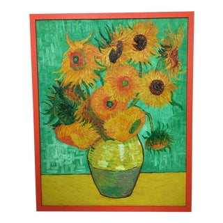 """Sunflowers in Vase"" Painting After Van Gogh For Sale"
