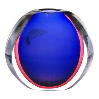 1960s Vintage Mid-Century Modern Round Glass Vase For Sale