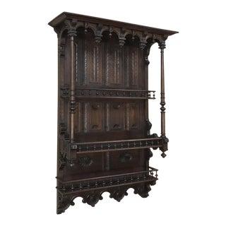 19th Century French Henri II Walnut Wall Shelf For Sale
