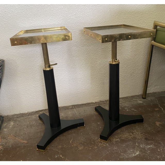Black and Gold Small Accent Tables - a Pair For Sale - Image 4 of 4