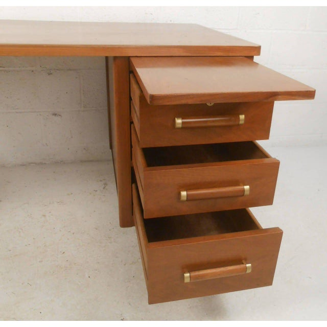 John Widdicomb Mid-Century Finished Back Executive Desk - Image 4 of 10