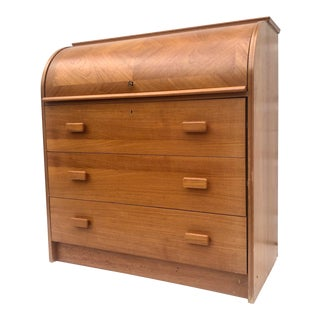 Danish Modern Roll Top Writing Desk For Sale
