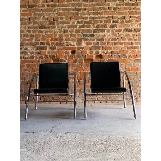1980s Moreno Chrome & Leather Lounge Chairs by Francois Scali & Alain Domingo for Nemo - A Pair For Sale - Image 5 of 12