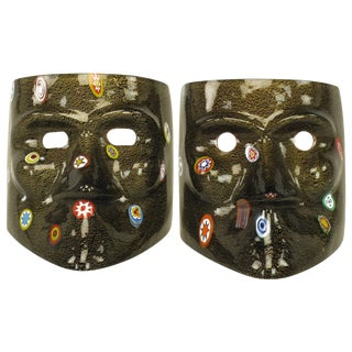 Handblown Gold Flecked and Fused Black Murano Glass Folk Arte Masks For Sale