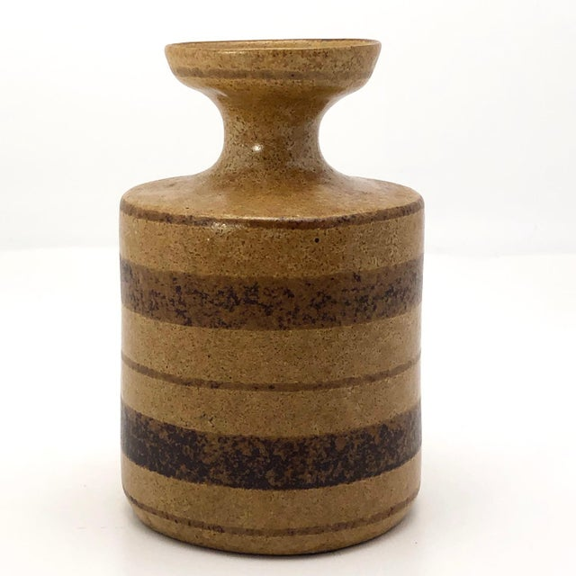 Mid-Century Modern Mid-Century Pottery Craft California Brown on Brown Stoneware Bud Vase For Sale - Image 3 of 13