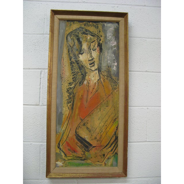 Etienne Ret Cubist Portrait Oil Painting - Image 2 of 7