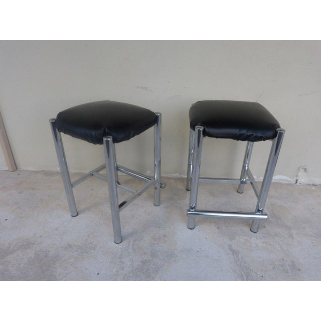 Metal 1970's Backless Chrome Bar Stools - a Pair For Sale - Image 7 of 10