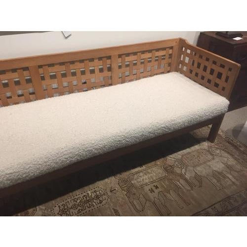 Fabulous vintage Scandinavia sofa, c.1970's, made entirely of oak with newly upholstered cushion. This is a beautiful...
