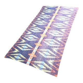1970s Southwestern Diamond-Pattern Purple/Yellow/Orange Wool Blanket For Sale