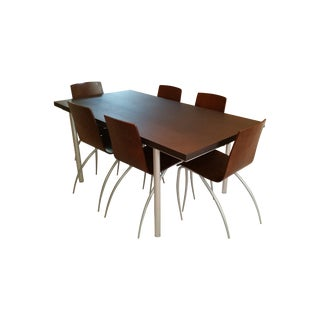 Molteni & C Wenge/Aluminum Extension Dining Set For Sale