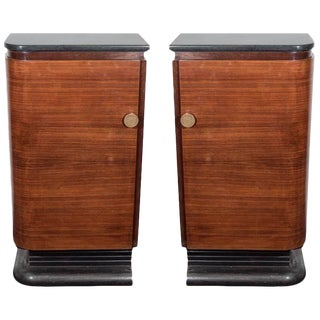 A Pair of American Streamlined Wood Bar Cabinets With Marble Tops, Circa 1940s For Sale