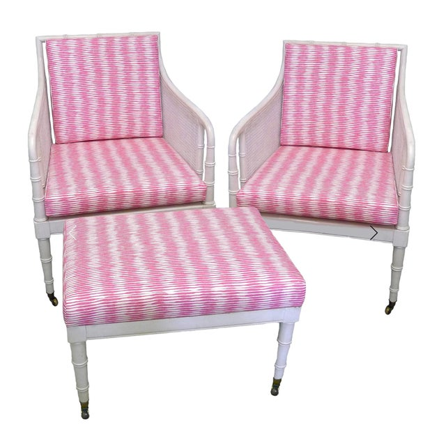 Raoul Textiles Bamboo Armchairs & Ottoman - 3 Pieces For Sale In New York - Image 6 of 6