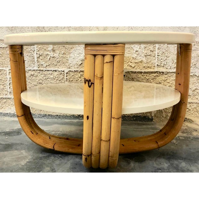 1980s Wood and Bamboo Round Side Table For Sale - Image 5 of 5