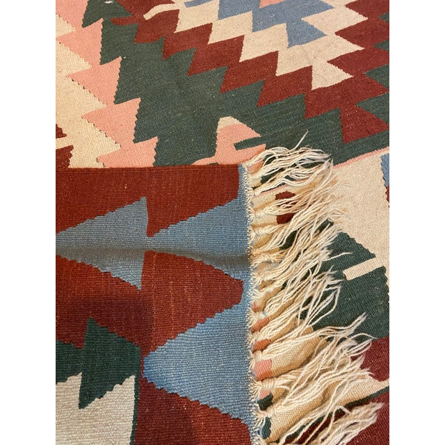 Vintage Handwoven Wool Flat Weave Fringed Turkish Rug For Sale - Image 4 of 6