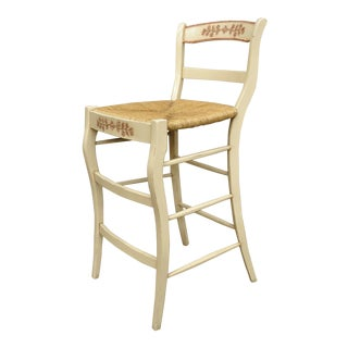 French County Style Cream & Red Rush Seat Ladder Back Barstool For Sale