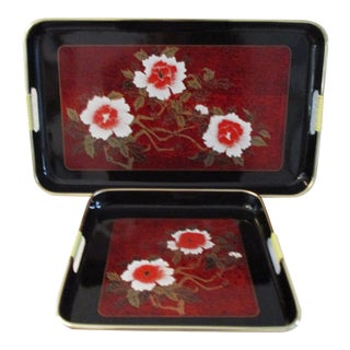 Mid-Century Japanese Lacquerware Floral Trays, a Pair For Sale