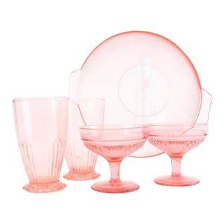 Vintage Anchor Hocking, Lace Edge Pink, Depression Glass ServeWare - Set of 5 For Sale