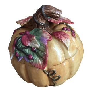 20th Century Cottage Autumn Pumpkin Ceramic Serving Dish For Sale