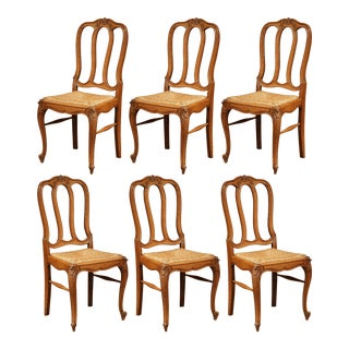 Set of Six Louis XV French Carved Oak Ladder Back Chairs With Rush Woven Seat For Sale