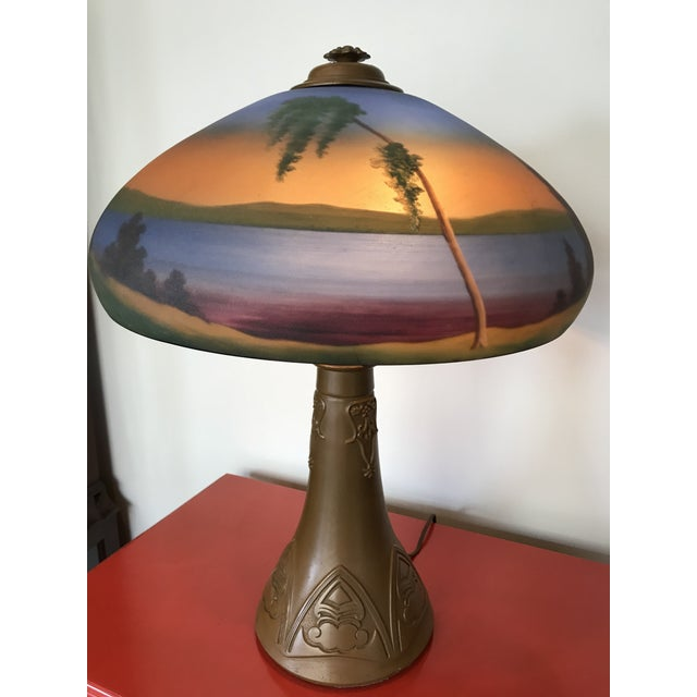 Arts & Crafts Arts & Crafts 1930s Mission Style Reverse Painted Glass Shade Lamp Lake George Adirondack Style For Sale - Image 3 of 6