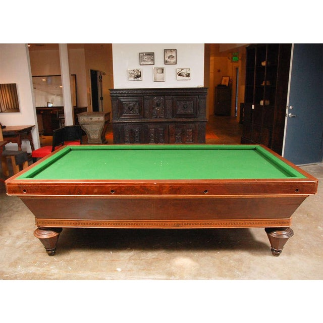 1860s Italian Carom mahogany billiard table with inlay. A gorgeous Carom 'pocketless' style billiards pool table in...