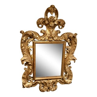 Rococo Style Gilt Carved Mirror For Sale