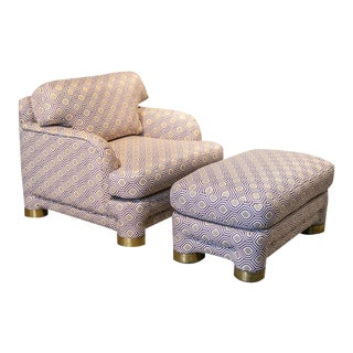 1980s Marge Carson Lounge Chair & Ottoman - a Pair For Sale