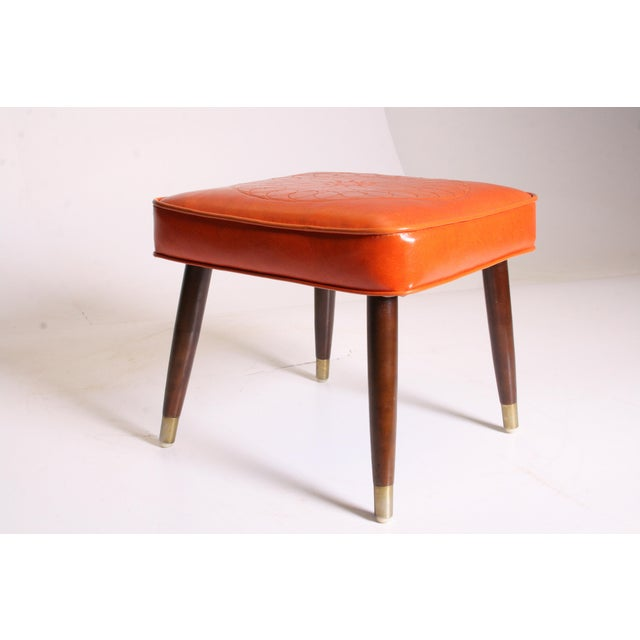 Mid Century Modern Orange Vinyl Foot Stool - Image 6 of 11
