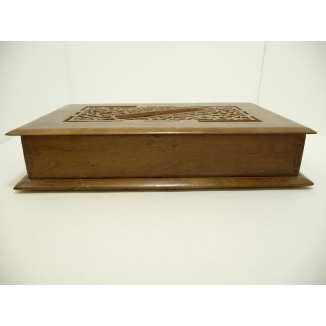 Antique Pierce Carved Wood Sewing Box - Image 5 of 6