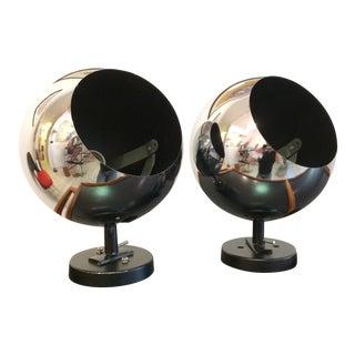 Vintage Lightolier Chrome Globe Sconces - a Pair For Sale