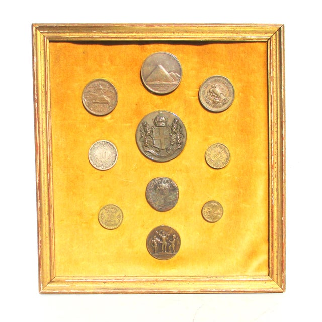 Metal Medallion and Coin Framed Collection For Sale - Image 7 of 7