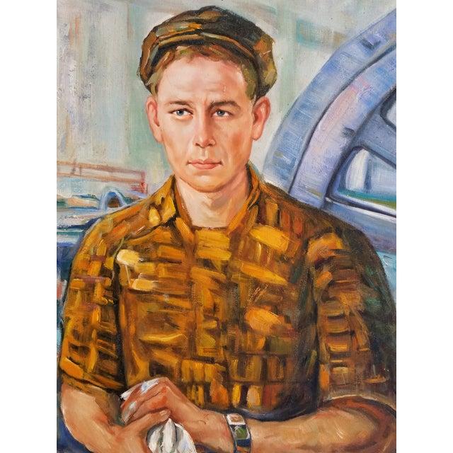 Mid Century Male Oil Portrait - Image 2 of 7