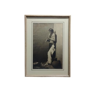 Karl Moon -Native American Indian Blowing His Flute-1908 Original Photogravure For Sale