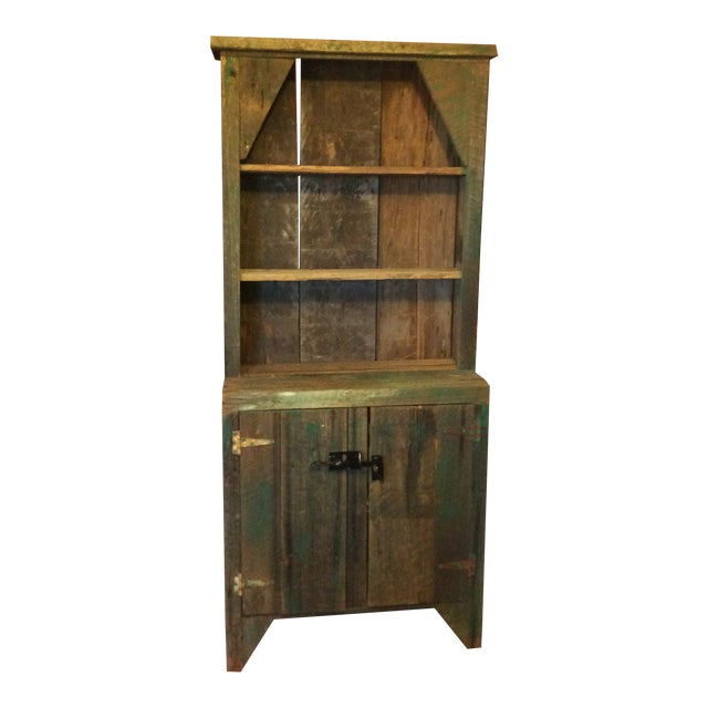 Primitive Wood Green Hutch For Sale