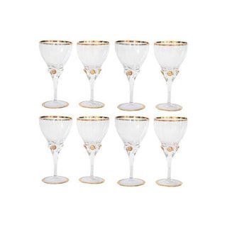 Gold Rimmed Wine Glasses - Set of 8