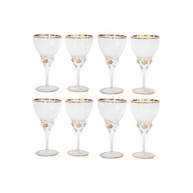 Gold Rimmed Wine Glasses - Set of 8 For Sale