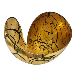 Larry Lubow Modern Gold Ceramic Bowl For Sale