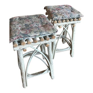 White Rustic Stools With Cushion - a Pair
