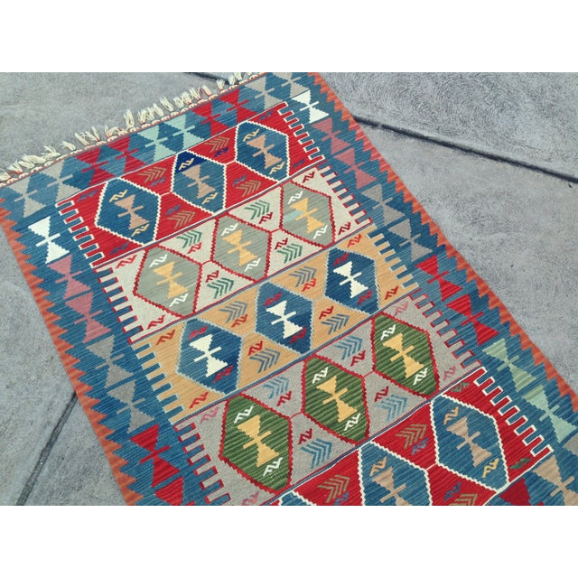 "Turkish Handwoven Wool Kilim Rug - 4'2"" X 5'11"" For Sale - Image 10 of 10"