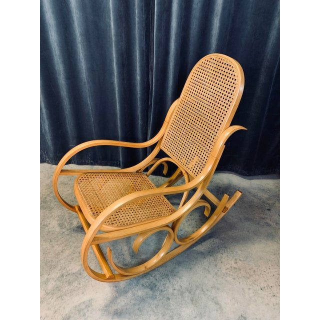 Fabulous vintage Italian bentwood and cane rocking chair by Luigi Crassevig. Curvaceous lines, cane backrest and seat,...
