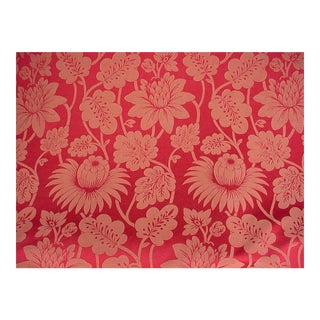 Gp & J Baker Hanbury Weave Red Floral Damask Upholstery Fabric - 15 3/8 Yards For Sale