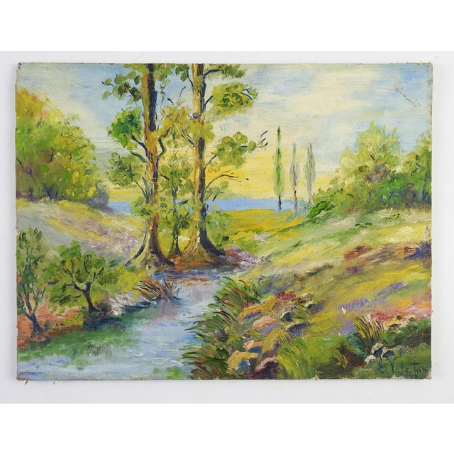 Rustic 1940's Sunny Day Landscape Painting For Sale - Image 3 of 4
