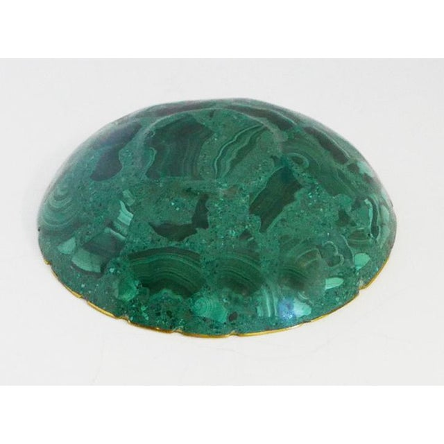 Small Brass Trimmed Vintage Malachite Dish For Sale - Image 4 of 5