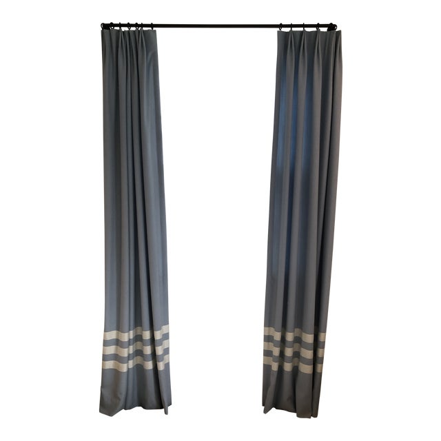Schumacher Blue With White Trim Curtain Panels - a Pair For Sale