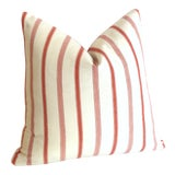 Image of French Ticking Stripe Coral & Ivory Pillow Cover: 16x16 For Sale