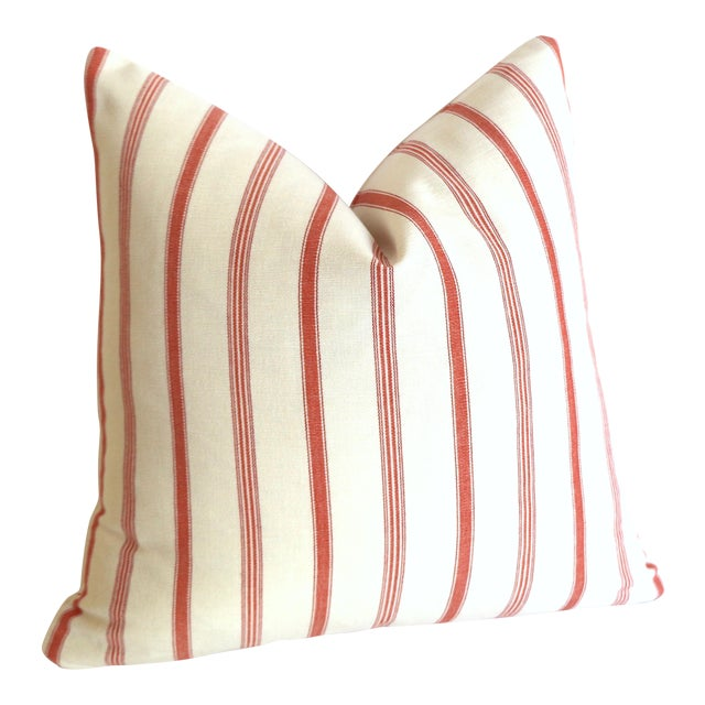 French Ticking Stripe Coral & Ivory Pillow Cover: 16x16 For Sale