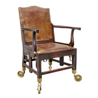 British Military Mahogany and Brass Campaign Chair For Sale